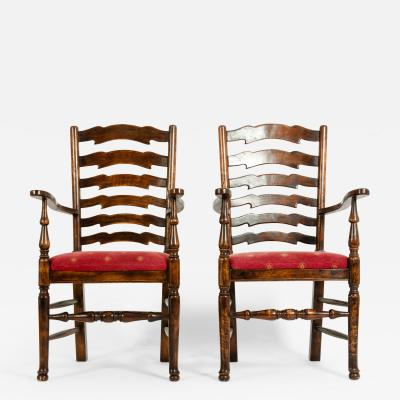 Pair Mid 20th Century Provincial Side chair Armchair