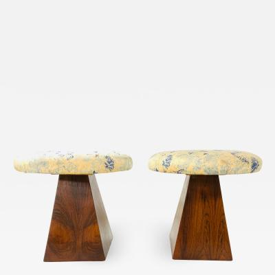 Pair Mid Century Modern Rosewood Stools