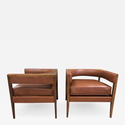 Pair Mid Century Modern Walnut Lounge Chairs