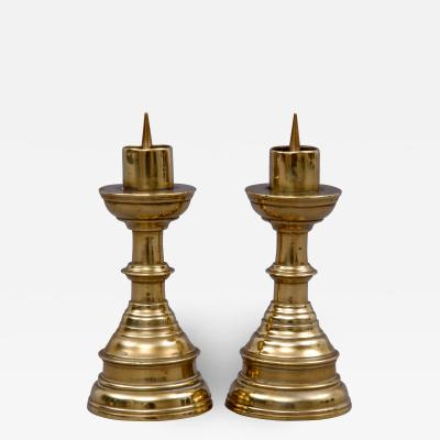 Pair Miniature French Brass Candlesticks Circa 1800