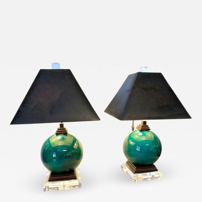 Pair Modernist French Flambe Lamps