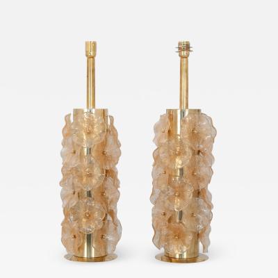 Pair Murano Flower Lamps