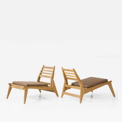 Pair Oak Rope Mid Century Chairs c 1955