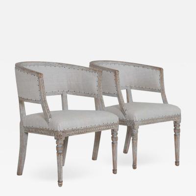 Pair Of 18th C Swedish Gustavian Period Original Paint Sulla Chairs Set 1