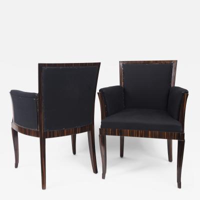 Pair Of Art Deco Style Makassar Ebony Upholstered Armchairs