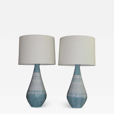 Pair Of Bitossi influence Embossed Mid Century Modern Table Lamps