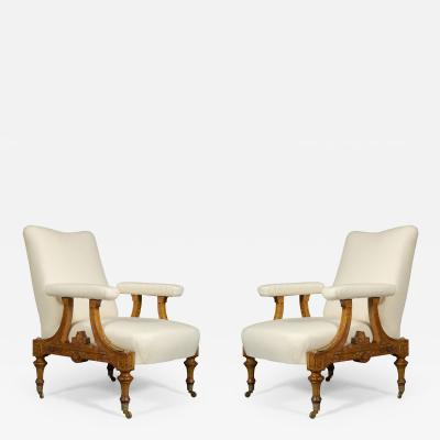 Pair Of Carved Birds Eye Maple And Gilt Brass Mounted Aesthetic Period Armchairs