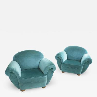 Pair Of Dec Style Blue Velvet French Armchairs France 20s