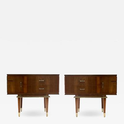Pair Of Diminutive Italian Walnut And Bronze Night Stands End tables