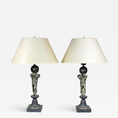 Pair Of Empire Style Bronze Figural Table Lamps