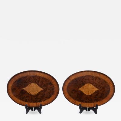 Pair Of English 18th Century Mahogany Trays Inlaid Satinwood Burl Walnut