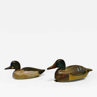 Pair Of Folk Art Hand Carved Painted Duck Decoys
