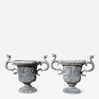 Pair Of Georgian Lead Two Handled Urns