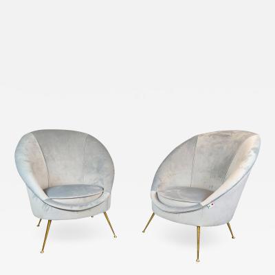 Pair Of Italian Mid Century Armchairs New Upholstery