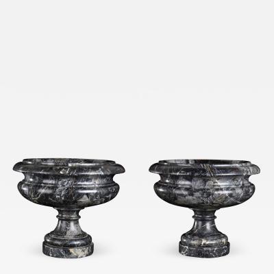 Pair Of Italian Sculpture Vases in Specimen Black Red Gray Marble