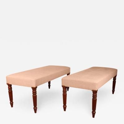 Pair Of Mahogany Benches From The 19th Century