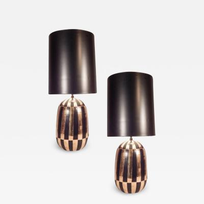 Pair Of Mid Century Black and Gold Ceramic Table Lamps