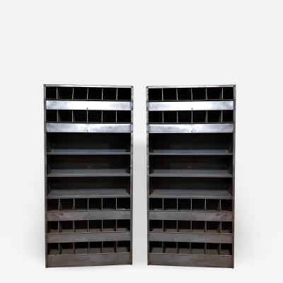 Pair Of Monumental Mid Century Industrail Shelving Units