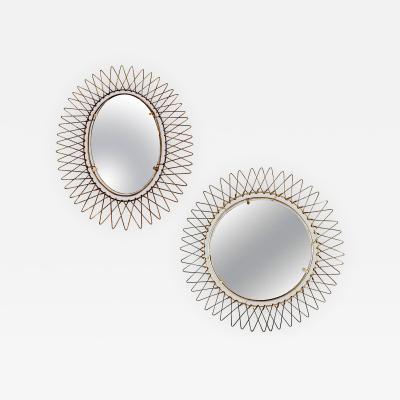 Pair Of Petite Frech Brass Mirrors
