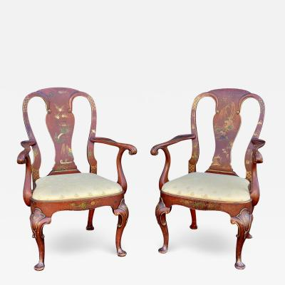 Pair Of Queen Anne Style Red Japanned Armchairs