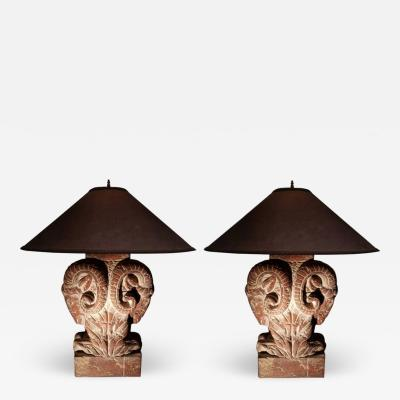 Pair Of Ram Head Classical Form Lamps