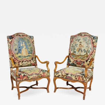 Pair Of Regence Walnut Armchairs
