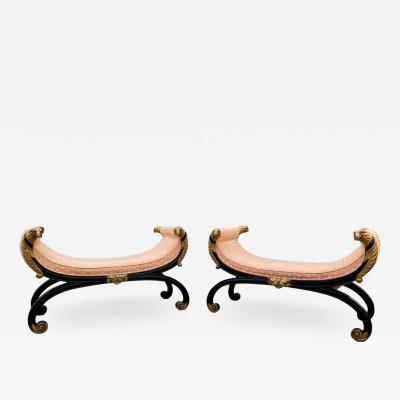 Pair Of Regency Ebonized And Giltwood Hall Benches