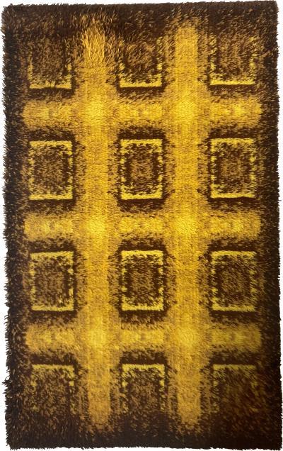 Pair Of Scandinavian Wool Ege Rya Danish Small Carpets Rugs 1960s