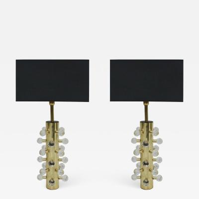 Pair Of Sculptural Murano Glass And Brass Italian Table Lamps