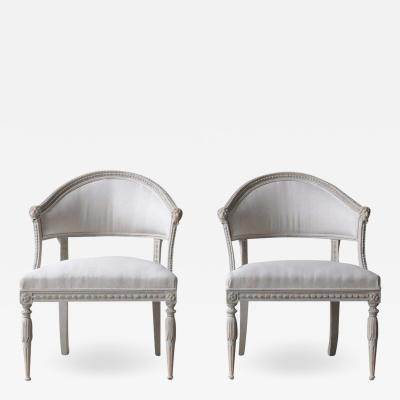 Pair Of Swedish Gustavian Style Barrel Back Armchairs With Lions Heads