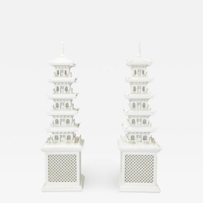 Pair Pagoda lamps