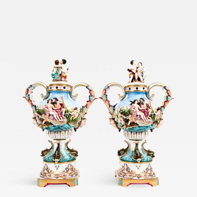 Pair Porcelain Covered Urns Decorative Pieces