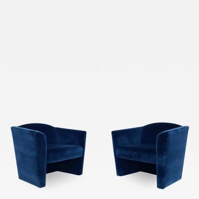 Pair Post Modern Angular Barrel Back Lounge Chairs