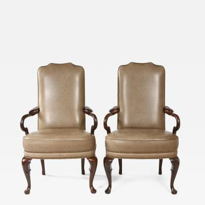 Pair Queen Anne Style Leather Armchairs