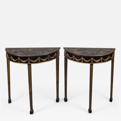 Pair Regency Chinoiserie Demi Lune Tables