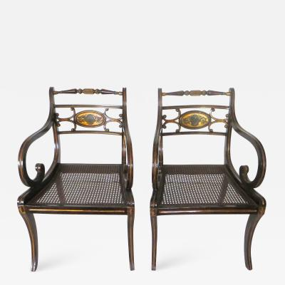 Pair Regency Faux Japanned and Parcel Gilt Arm Chairs Circa 1810