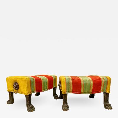 Pair Regency Hairy Paw Foot Stools