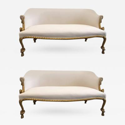 Pair Rope and Tasseled Gilded Sofas