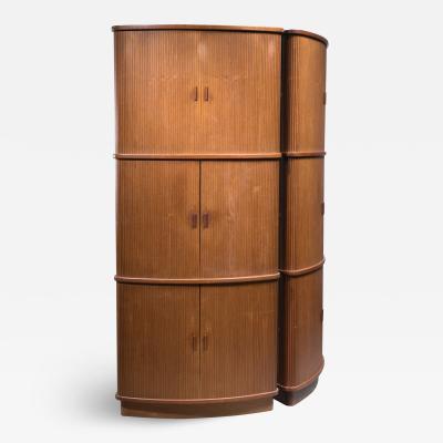 Pair Scandinavian Modern high corner cabinets with tambour doors