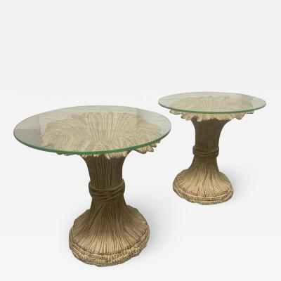 Pair Sheaf of Wheat Wood and Glass Top Side Tables