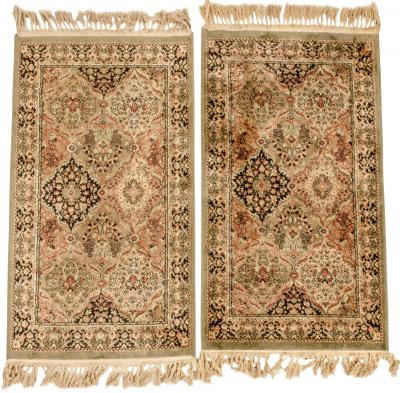 Pair Silk Handmade Area Rugs
