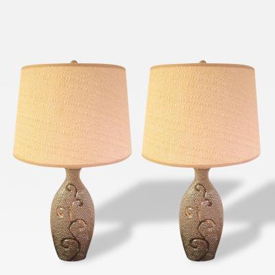 Pair Silver Mercury Glass Designed Lamps