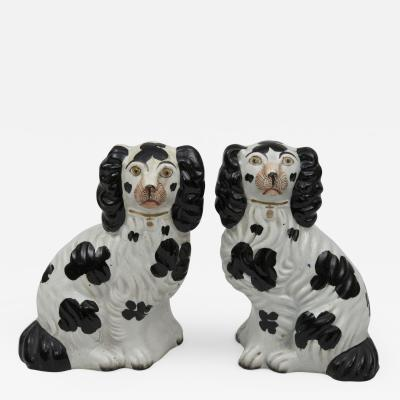 Pair Staffordshire Black White Dogs