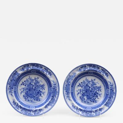 Pair Staffordshire Blue White Soup Bowls
