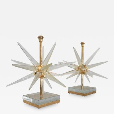 Pair Starburst Murano Glass Lamps