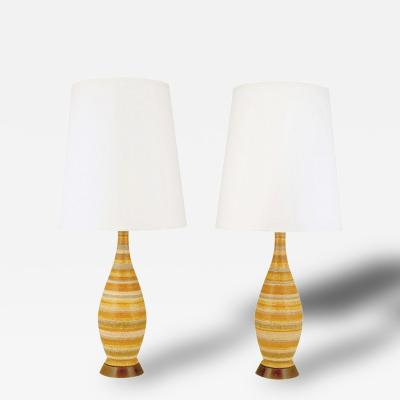 Pair Striped Salt Glazed Pottery Table Lamps
