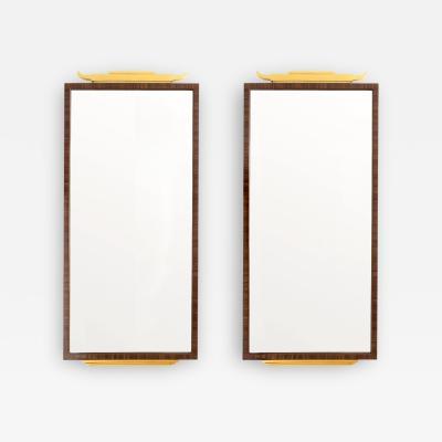 Pair Swedish Grace Pavilion mirrors rosewood veneer gilt wood carvings 1920s