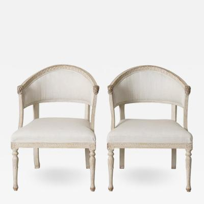 Pair Swedish Gustavian Barrel Back Armchairs With Lions Heads