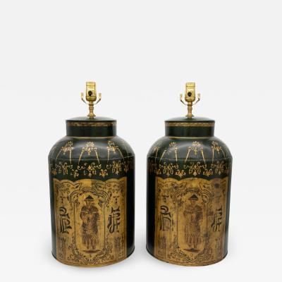 Pair Tea Tin Lamps
