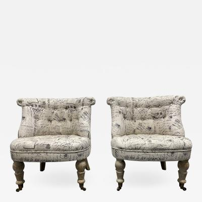 Pair Tufted Cerused Lounge Slipper Chairs